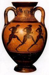 Древнегреческая ваза с изображенными на ней античными бегунами