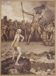 Давид и Голиаф (работа Osmar Schindler, 1888)