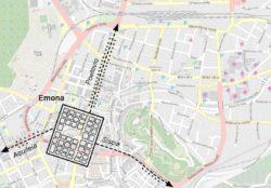 Расположение Эмоны на карте современной Любляны