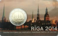 2 euro Latvia coincard 2014 Riga
