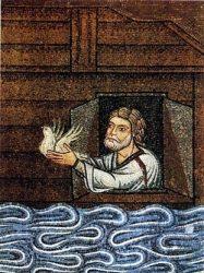 «Ной выпускает голубя из ковчега» (Фрагмент мозаики кон. XII — нач. XIII вв. Венеция, Собор Святого Марка)
