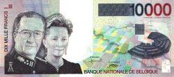 Банкнота достоинством 10.000 бельгийских франков образца 1997 года с изображением Короля Бельгии Альберта II и Королевы Паолы