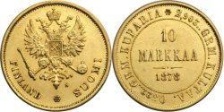 10 финских марок 1878 года (3,22 г, Au 900)