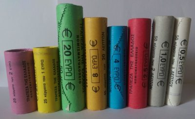 Greece euro coins rolls