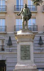 Памятник Сервантесу на площади Кортесов в Мадриде